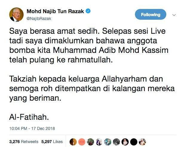 Adib Meninggal Dunia. Ini Komen Bekas PM Najib Razak Buat Ramai Sayu