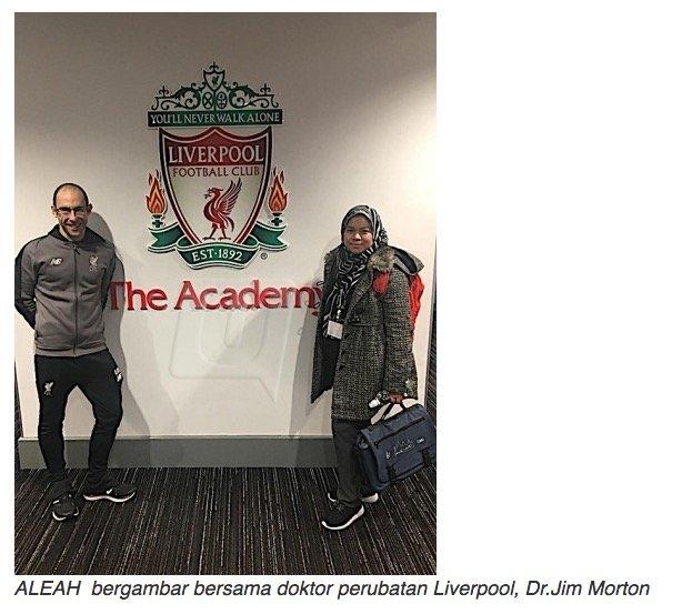 TAHNIAH. Puan Aleah Melayu Pertama Bekerja Bersama Pasukan Bola Sepak Liverpool. ٱلْـحَـمْـدُ للهِ