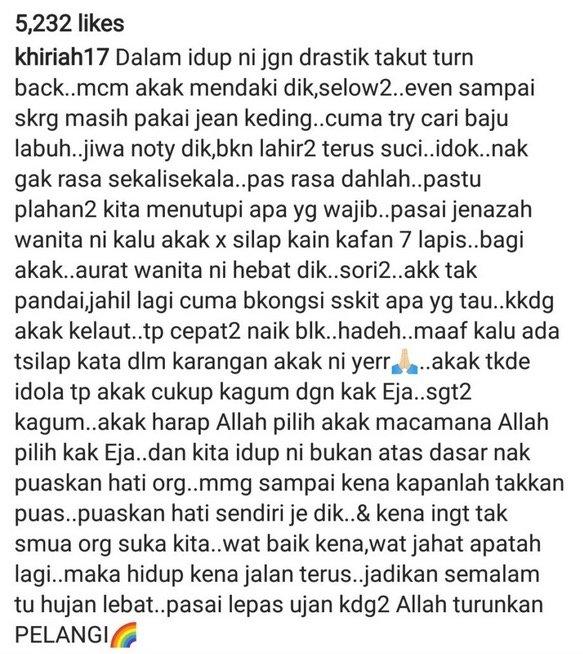 Nasihat BERANI Noorkhiriah Buat Rakan Artis Buat Ramai Netizen Setuju. Allahuakbar.