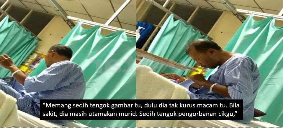 Seorang Guru Gigih Menanda Kertas Peperiksaan Ketika Terlantar Di Hospital Buat Ramai Sayu