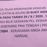 Seorang Positif, Tetamu Majlis Akad Nikah Fatin & Azlan Diminta Jalani Saringan Covid-19
