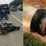 Lelaki Maut Motosikal Rempuh Tayar Treler Tercabut