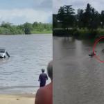 VIDEO Kereta Terhumban Dalam Sungai Sarawak. Wanita Maut.