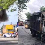 Trak Polis Terbakar Selepas Bertembung Dengan Motosikal.