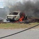 Mayat Rentung Ditemui Dalam Kereta Terbakar
