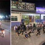 Sekumpulan Mat Motor Bertempiaran Lari Dalam Semak Sebelum Ditahan Pihak Polis